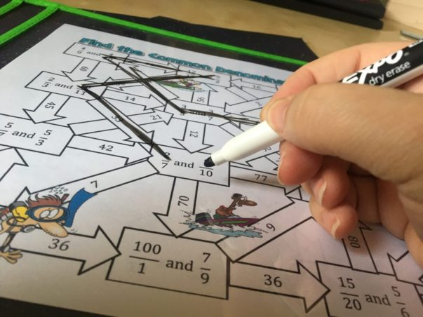 Practice finding the least common denominator with this fun twist on traditional worksheets. Mazes are always a hit with my students! Check out all 10 common denominator activity ideas.