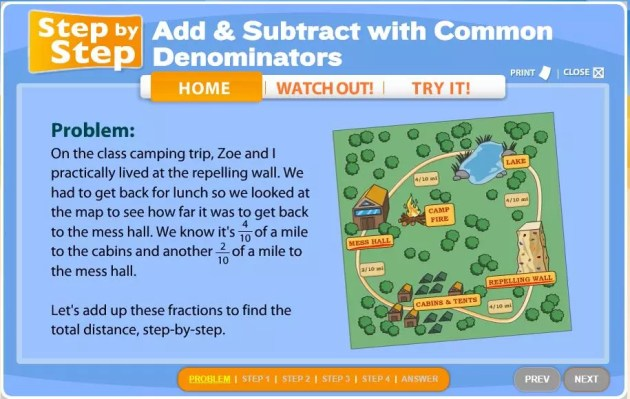 This online fractions activity from Scholastic.com is great for fast finishers or an independent math station. Check out all 10 adding and subtracting fractions activity ideas for fractions with like denominators.