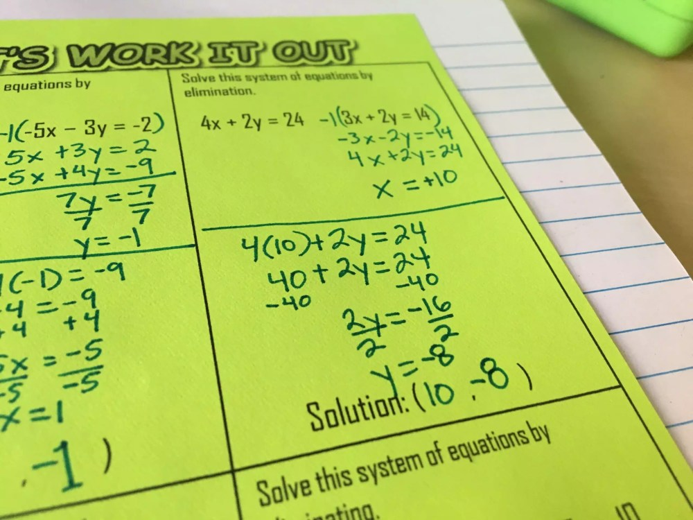 medium resolution of How to Teach Systems of Equations with Interactive Notebooks - Idea Galaxy