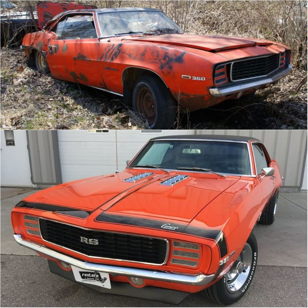 restored car before and after