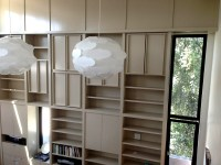 Painted custom bookcase library alt view | Ideal Cabinets Inc.