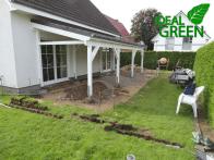 Terrasse Vordach Erdarbeiten Beregnungssystem Rasensprenger