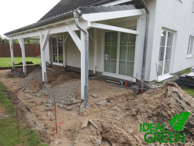 Terrasse Vordach Erdarbeiten