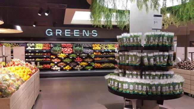 Stockmann Herkku Food Marketin vihannesosasto Greens. Kuva: Ideal Helsinki