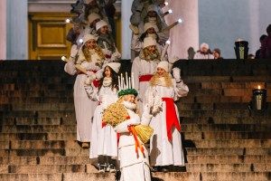 Lucia Parade at Helsinki Cathedral.