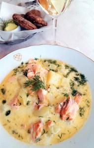 Salmon soup at Kolme Kruunua.