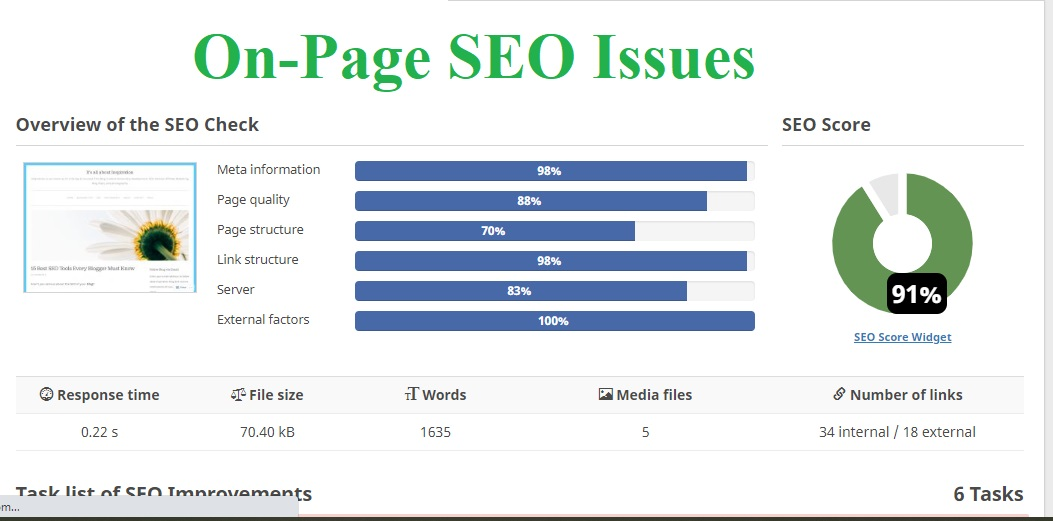 On page SEO Issues