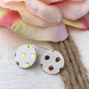 White with Gold Polka Dots Buttons Collection
