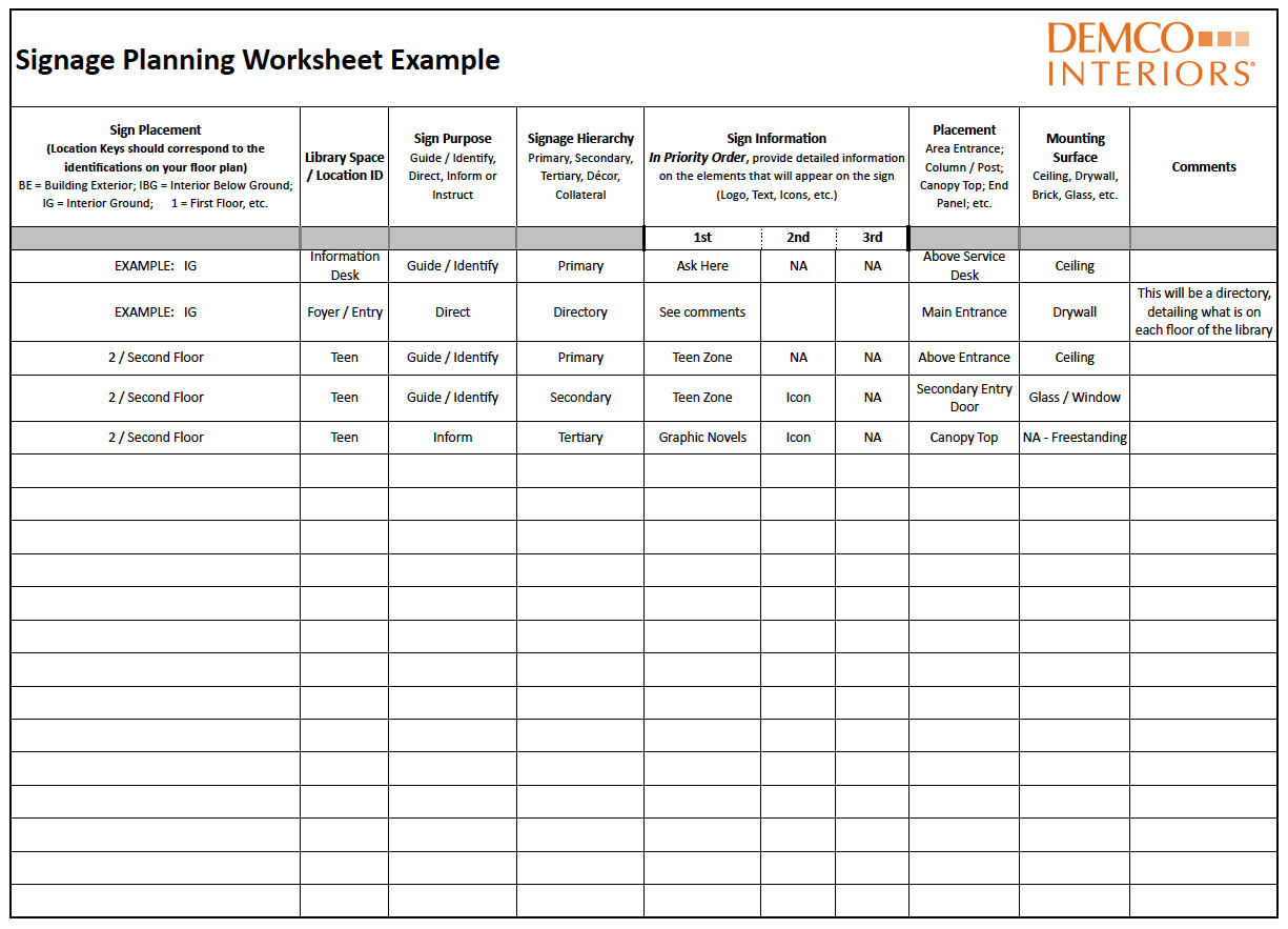 Top Work Sheet Library