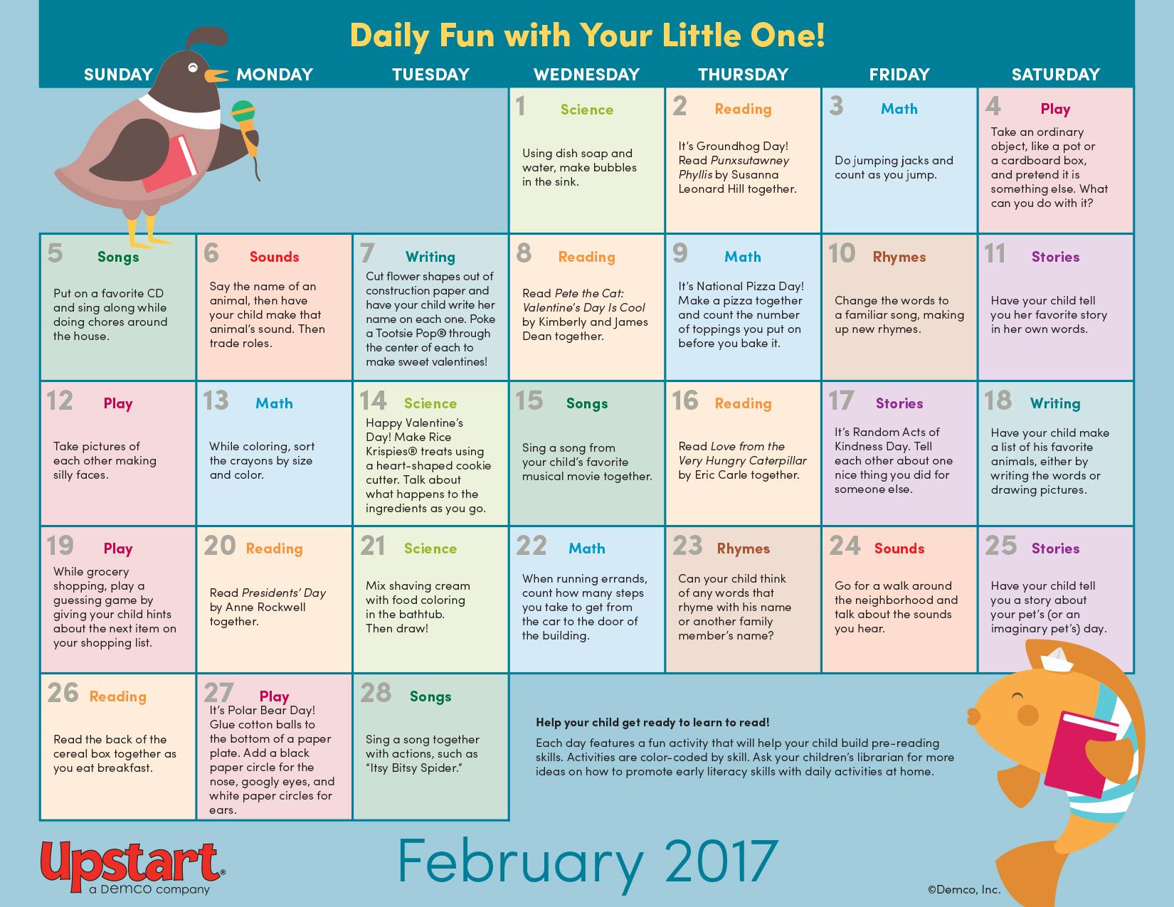 Early Literacy Activity Calendar February