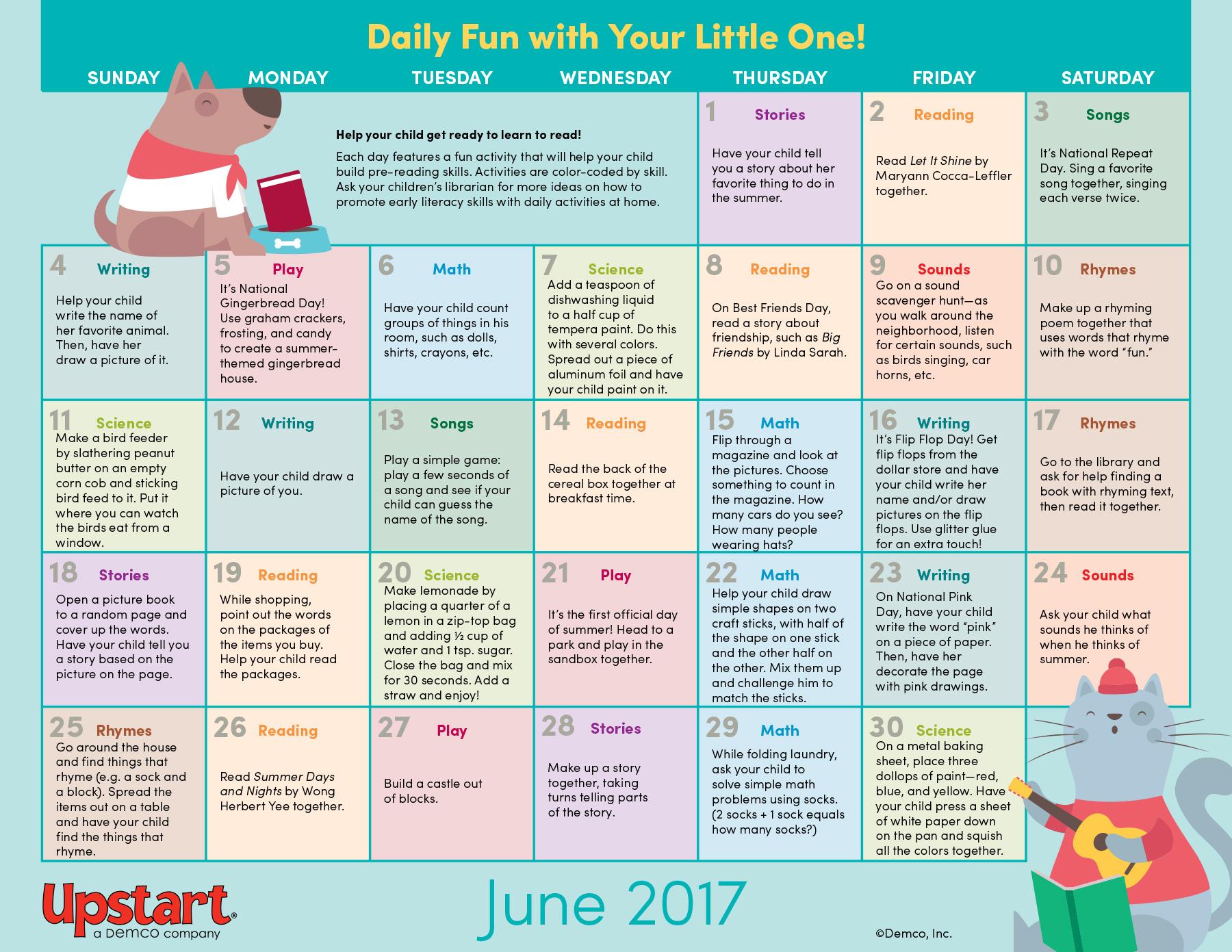 Early Literacy Activity Calendar June