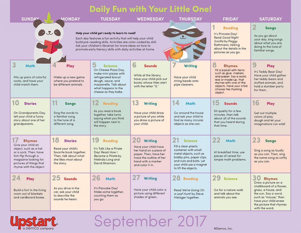 Early Literacy Activity Calendar September