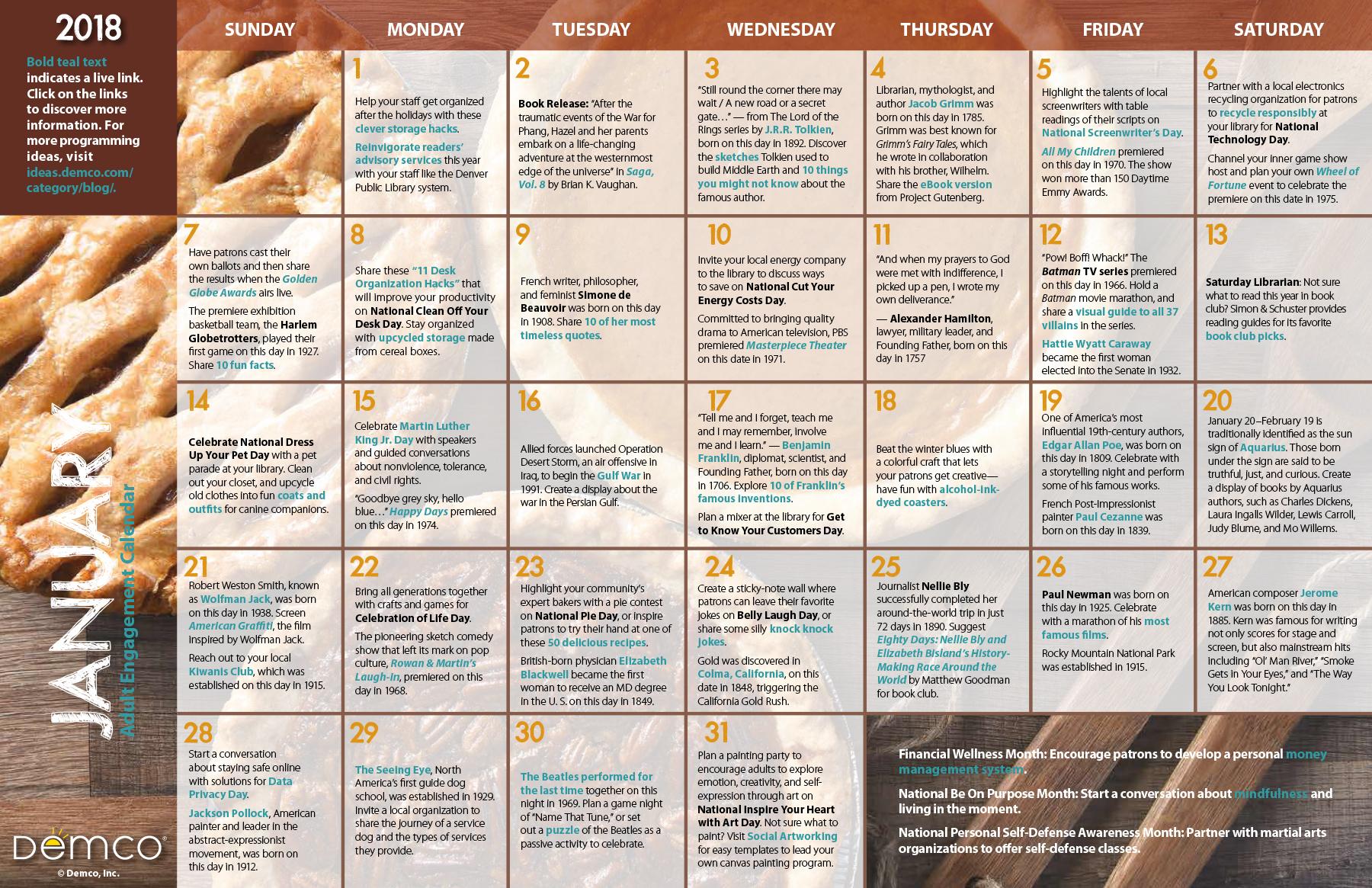 Adult Activity Calendar January