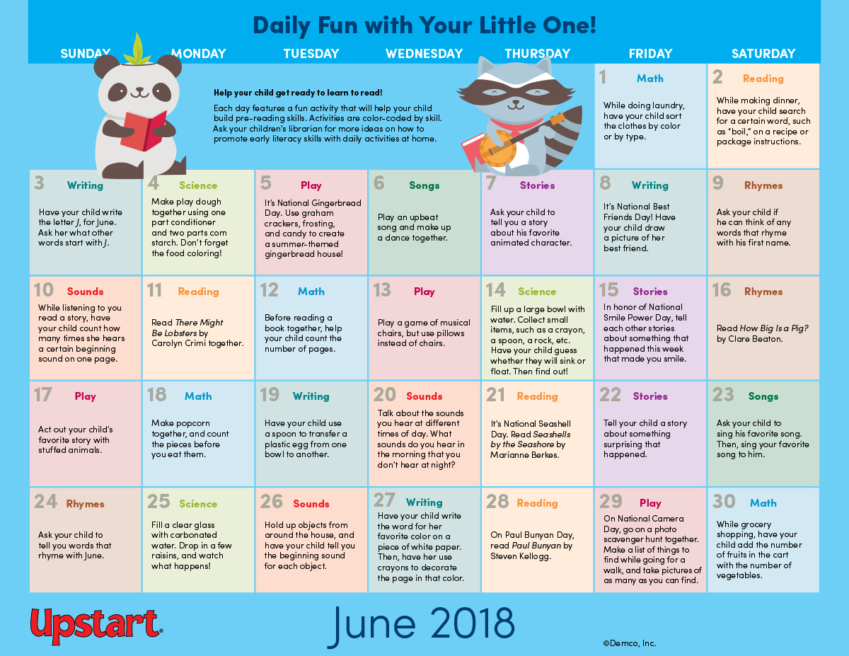 Early Literacy Activities Calendar Boost Pre Reading Skills In June