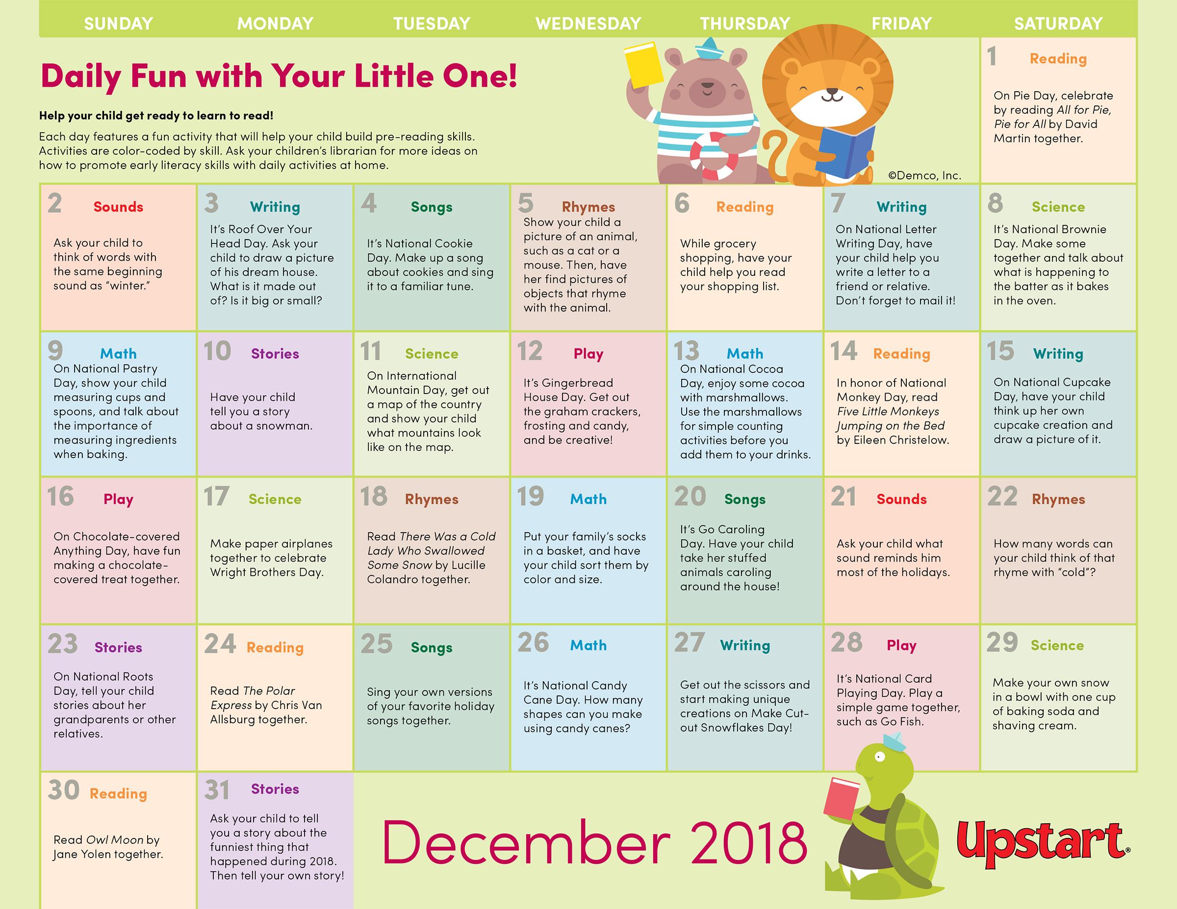 Early Literacy Activities Calendar December