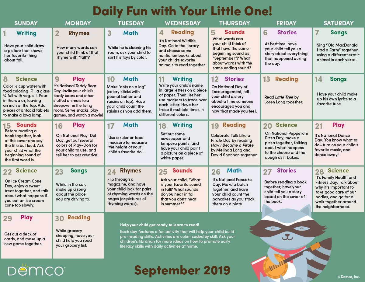 Early Literacy Activities Calendar September Crafts