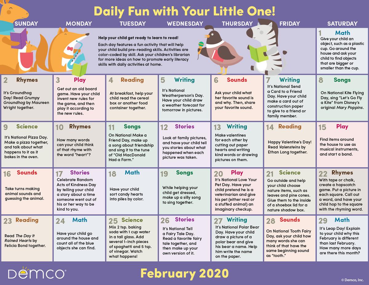 Early Literacy Activities Calendar February
