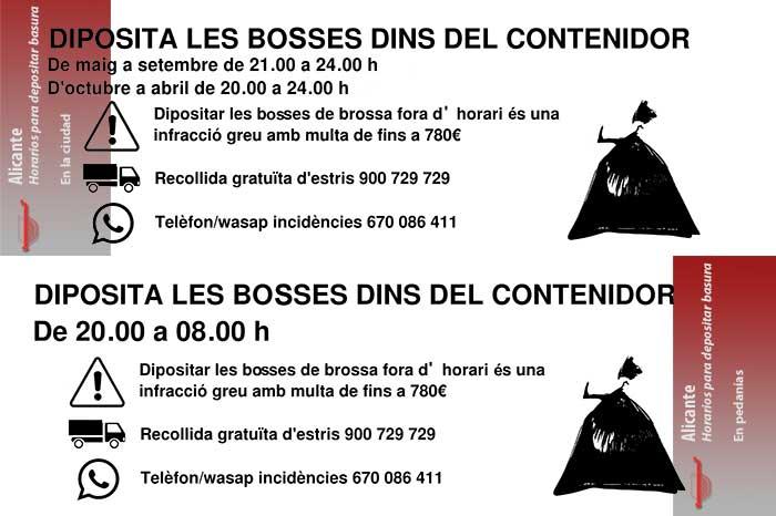 horarios de residuos Alicante