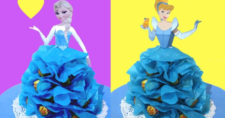 Princesas Disney con chuches DIY. Decoración de fiestas