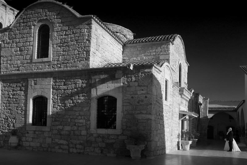 A bride and groom waiting to enter the Church of Saint Lazarus, Cyprus.