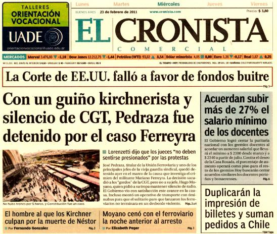 Arrestaron A Pedraza Portada De Diarios Blog De Lea