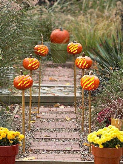 Pumpkins-On-A-Garden-Path
