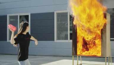 Florero extintor de fuego