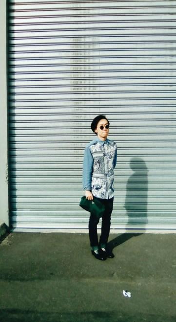 Jean Paul Gaultier X Target Australia Denim Bandana print shirt OOTD view