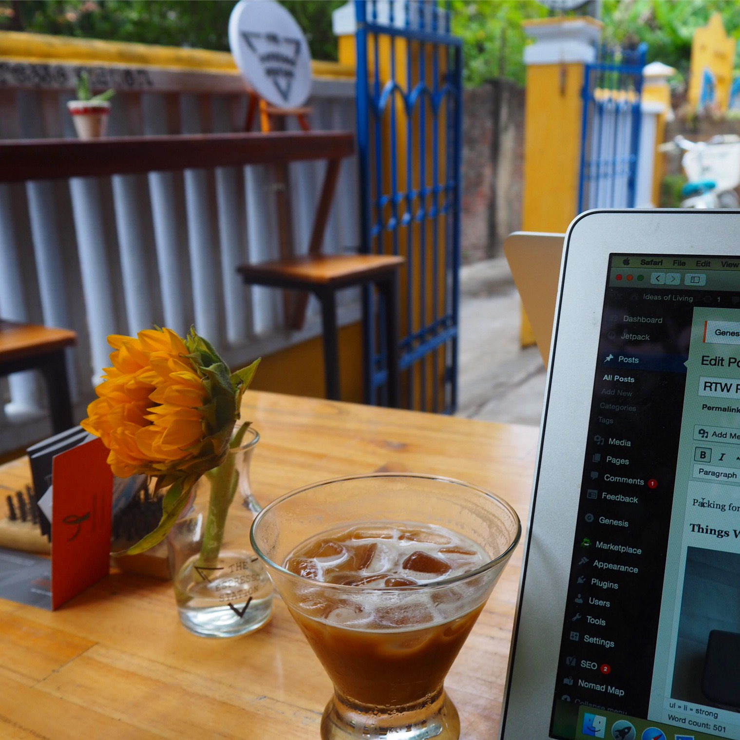 Blogging at our favorite coffee shop in Hoi An