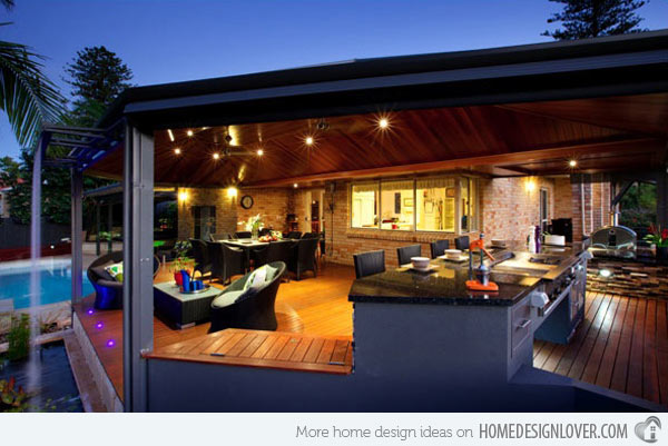outside kitchen designs cart stainless steel top 25 cool and practical outdoor ideas 2017 the open plan lighting design of this make it look luxurious