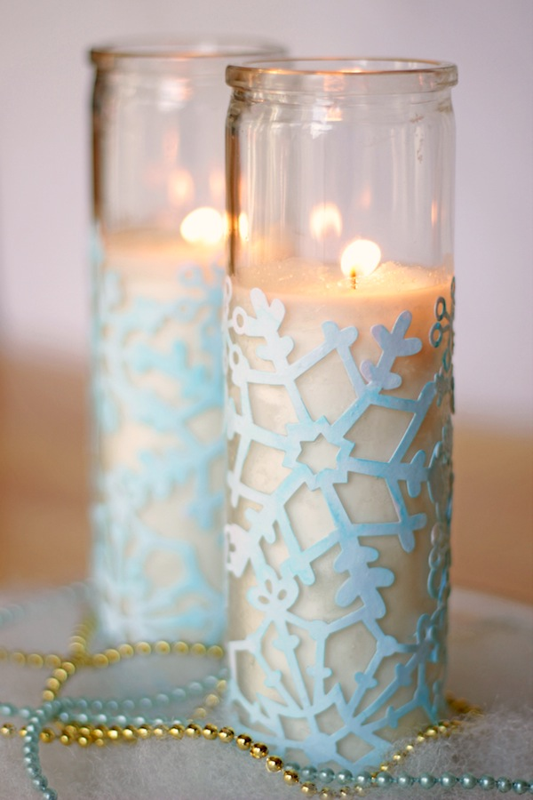 Snowflake Winter Craft: DIY Votives | Mod Podge Rocks - Snowflake Craft: Cute Winter Votives. High-impact and low budget winter decor. Make a nice centerpiece this winter holiday!