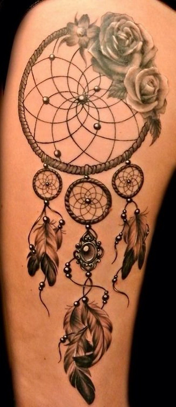 Moon Wolf Dreamcatcher Tattoo