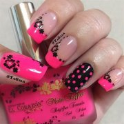 beautiful pink and black nail