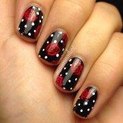 stylish red and black nail