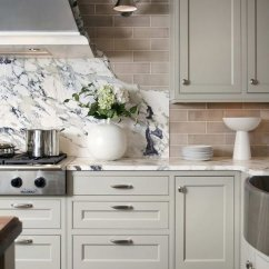 Grey Kitchen Backsplash Redo Countertops 30 Awesome Ideas For Your Home 2017 Marble Slab And Subway Tile With Light Cabinets
