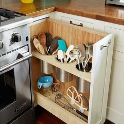 Kitchen Corner Cabinet Stone Island Storage Ideas 2017 The Pull Out Utensil Bin Next To Stove