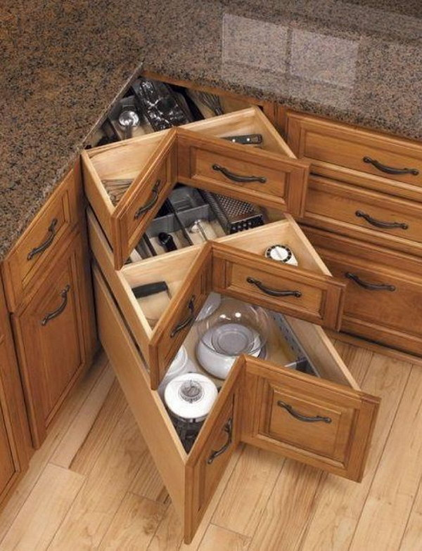 kitchen corner cabinet thai organic coconut milk storage ideas 2017 diy drawers