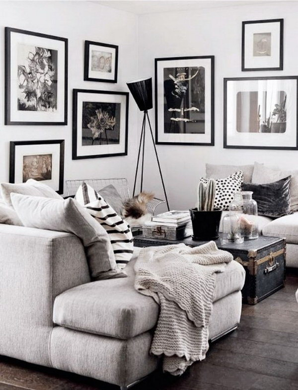 pictures of black and white living rooms best warm paint colors for room 40 beautiful designs 2017 gray with throw pillows gallery wall art