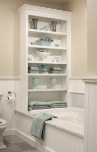 20+ Neat And Functional Bathtub Surround Storage Ideas 2017
