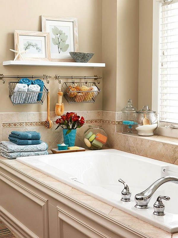 20 Neat And Functional Bathtub Surround Storage Ideas 2017