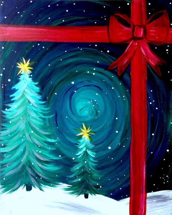 Easy Christmas Canvas Ideas Arte Inspire
