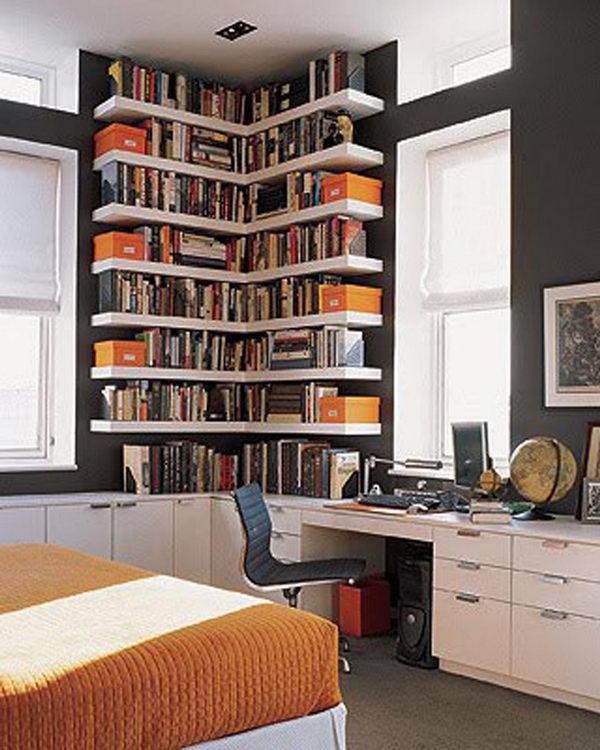 kitchen bookshelf www elkay com sinks 20 diy corner shelves to beautify your awkward 2017