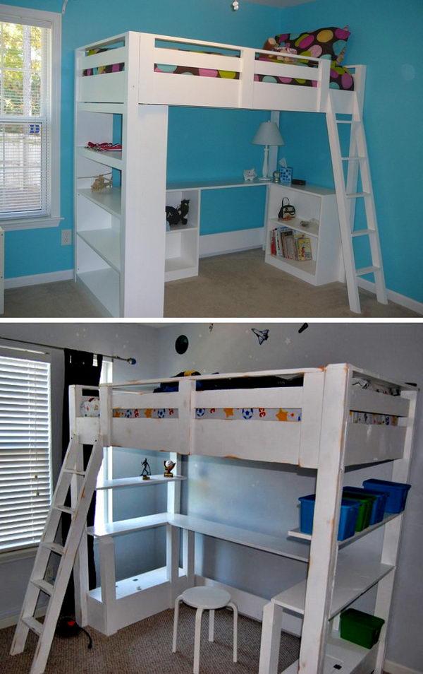 DIY Loft Bunk Bed with Desk.