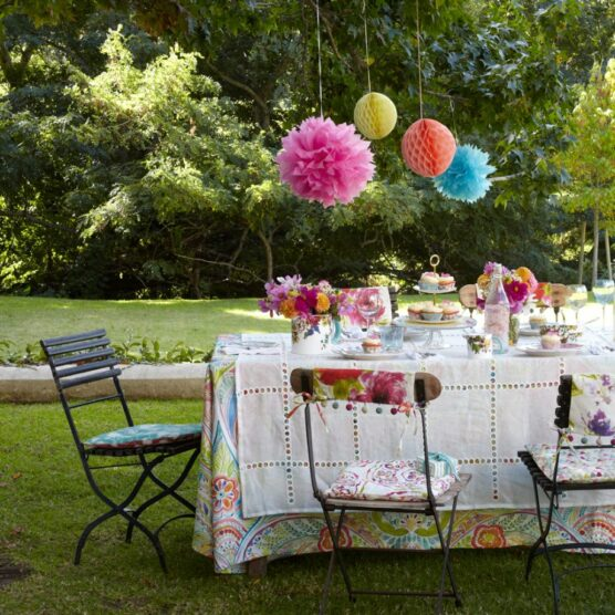 Use pom-poms as party decorations