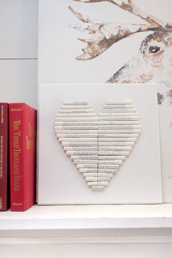 Rolled book page heart art