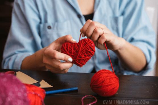 Yarn wrapped cardboard hearts