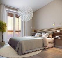 kleine schlafzimmer modern creme wandfarbe holzlatten bett ...