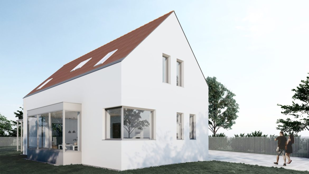 Tiny Energy efficient house in traditional rural areas exterior