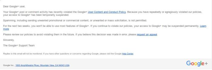 An email from Google saying I had violated G+ rules.