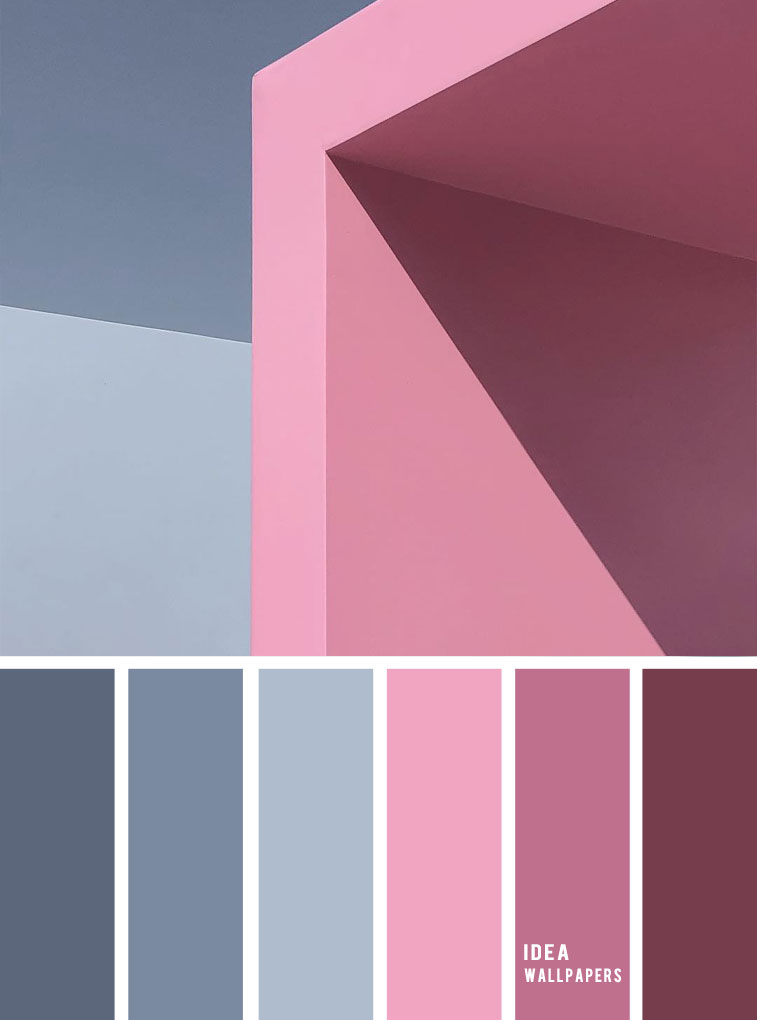 19 The perfect pink color combinations { Pink hues + Blue Grey }, pink and blue grey color palette,pink and grey colour palette #color #colorpalette